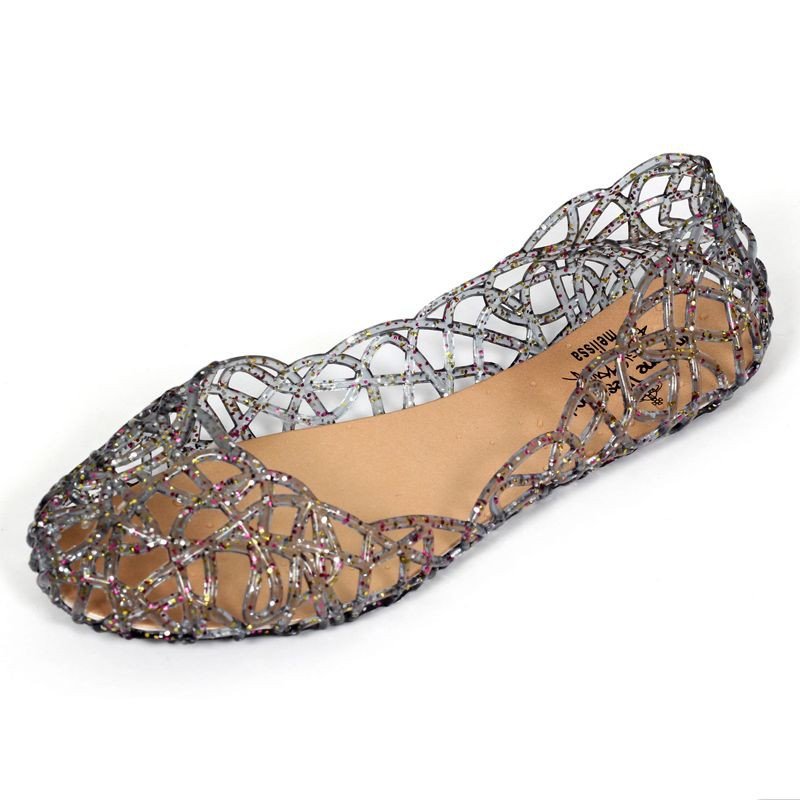 d596a6ee72e Jelly female sandals crystal plastic shoes fish mouth big flower flat shoes