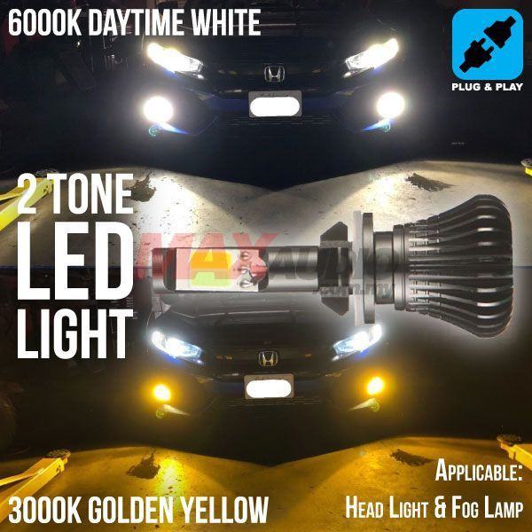 [FREE Gift] CAR LED BULB 2-Tone Dual Color Switchback White/Yellow (6000K/ 3000K) Vehicle Head Light Fog Lamp Bulb (Pair)
