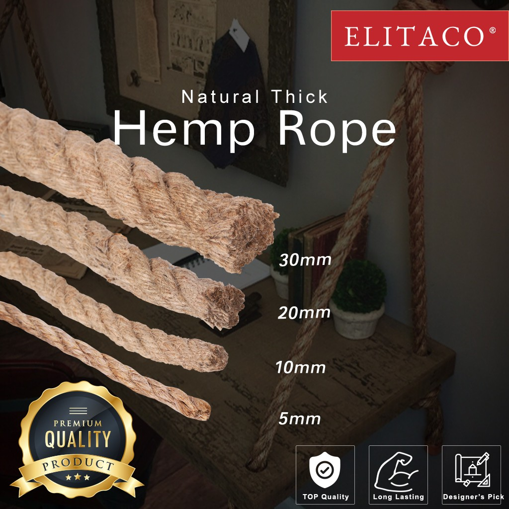 Elitaco 50m 30mm 20mm 10mm 5mm Tali Guni Hemp Rope For Crafts Landscaping Hanging Swing Craft Diy Home Decor Cat Shopee Malaysia