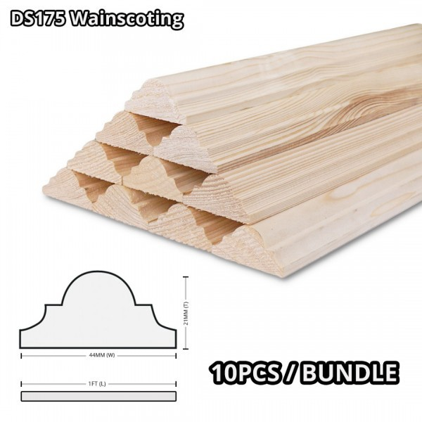 Pine Wood Timber DS175 Moulding Decorative Wainscoting 21MM (T) x 44MM (W) x 1' (L) - 10PCS/BDL