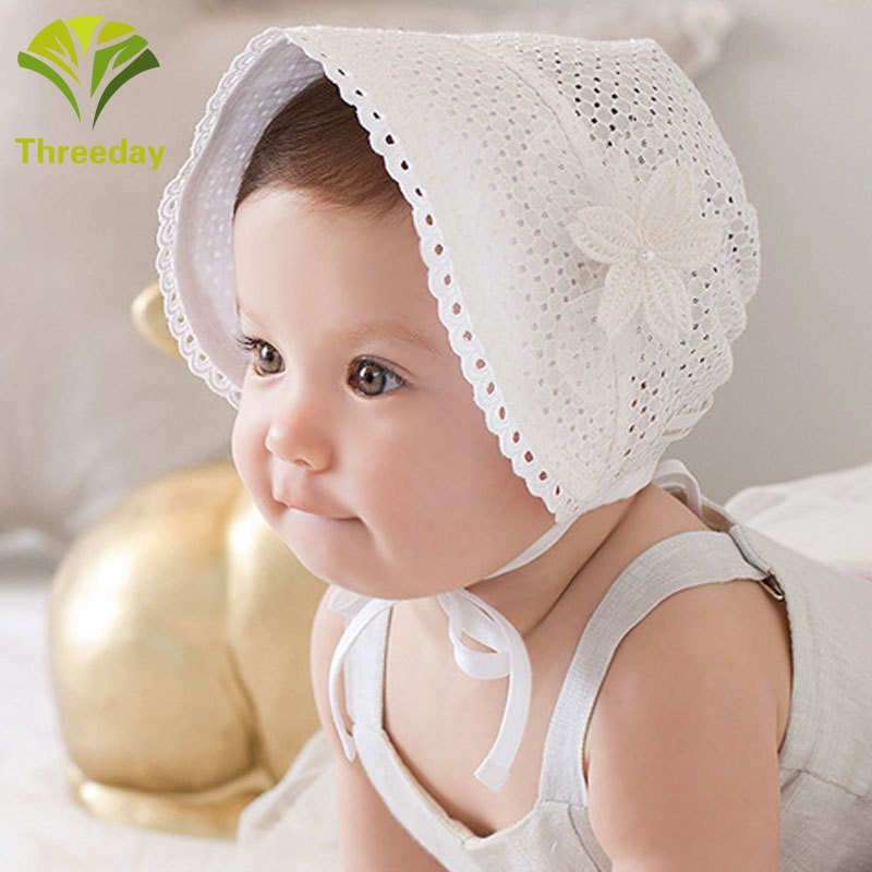 ae1945b89 3D❤ Fashion Baby Cap Solid Color Hollow Braid Hat Infant Newborn Kids Hats  Lace Caps Children Bonnet