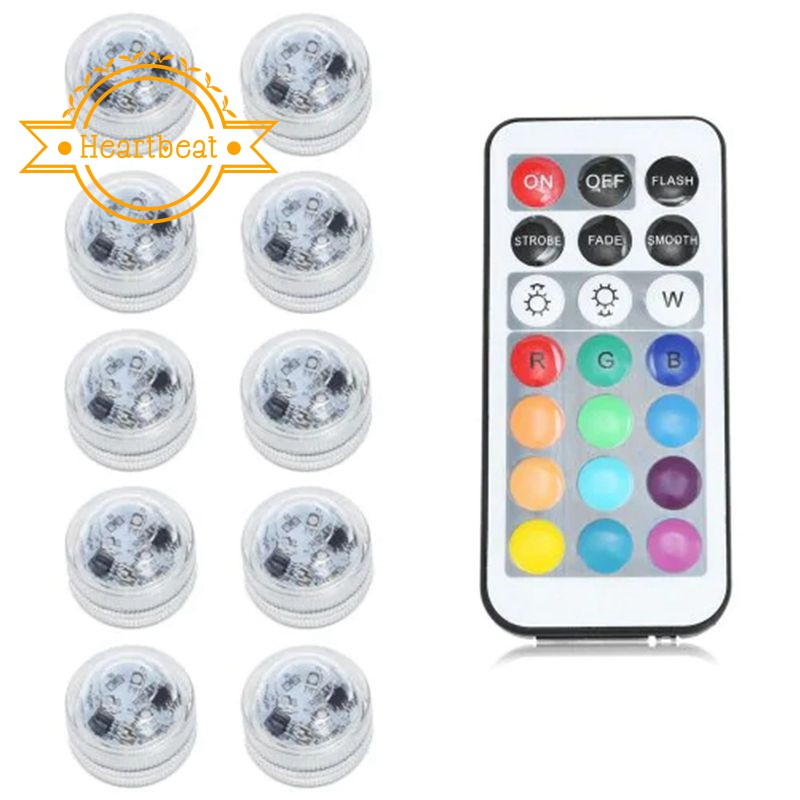 COLOUR CHANGING MINI LED TEALIGHTS WITH REMOTE CONTROL BATTERIES INCLUDED 10PC