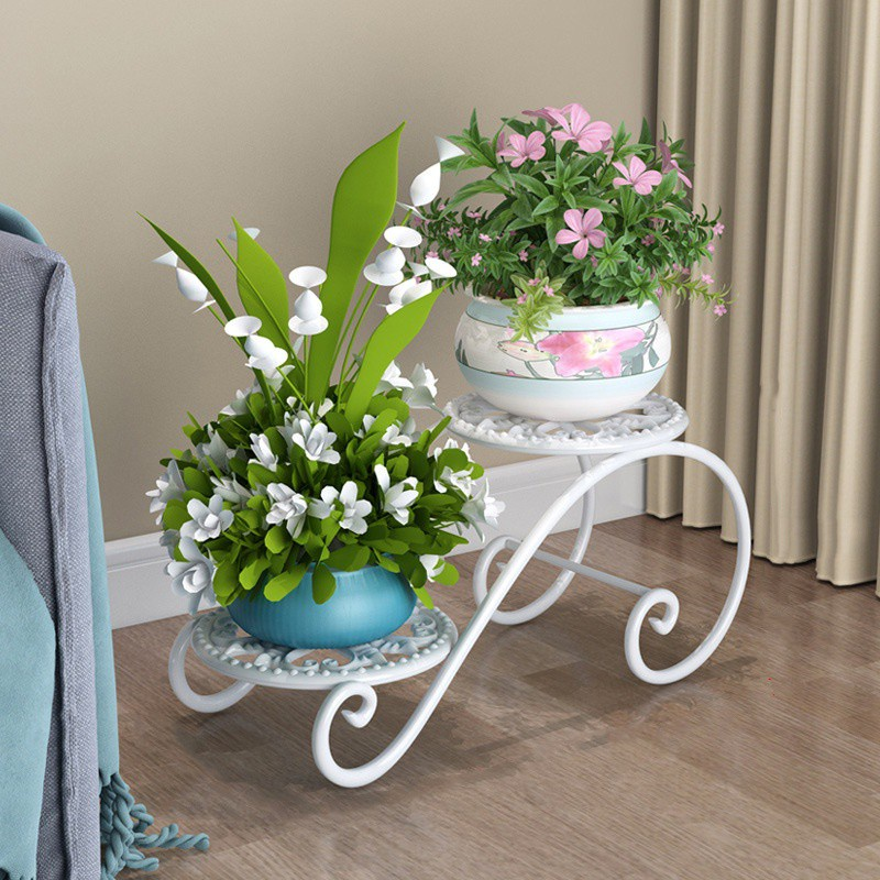 GDeal Durable Wrought Iron Stand Multi-layer Flower Stand Space Saving Deco Flower Pot Stand