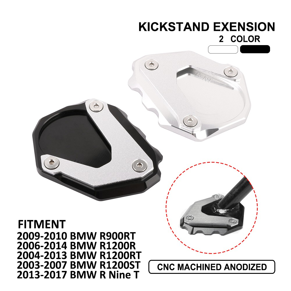 Motorcycle Side Stand Plate Kickstand Extension Pad Enlarger For BMW R900RT R1200R R1200RT R1200ST R Nine T,Black