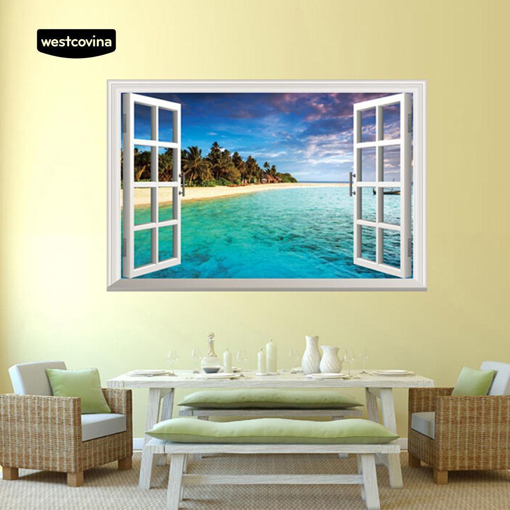 Huge 3D Window view Exotic Ocean Beach Wall Sticker Mural Art Decal  92