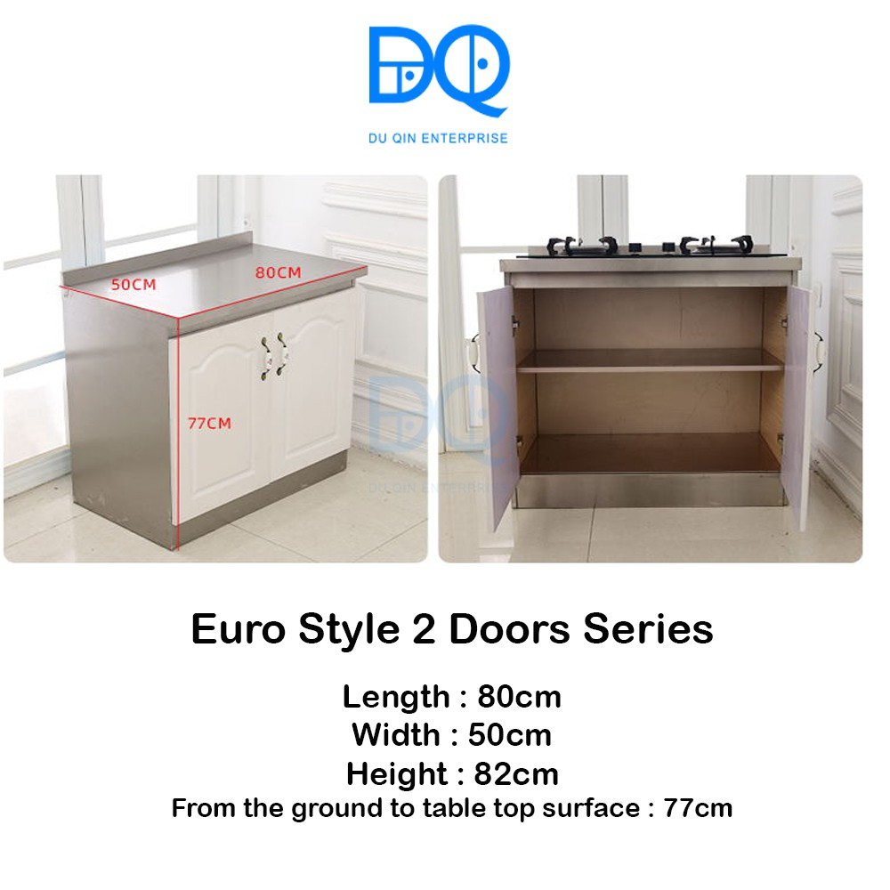 [Ready Stock]Kitchen Cabinet Euro Style Stainless Steel 2 Doors
