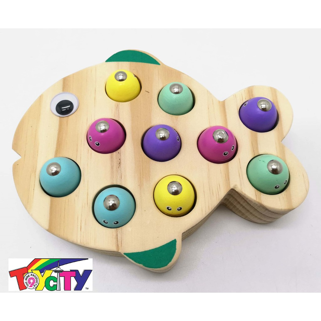 12PIECE MAGNETIC WOODEN FUN FISHING GAME FOR TODDLER AND KIDS
