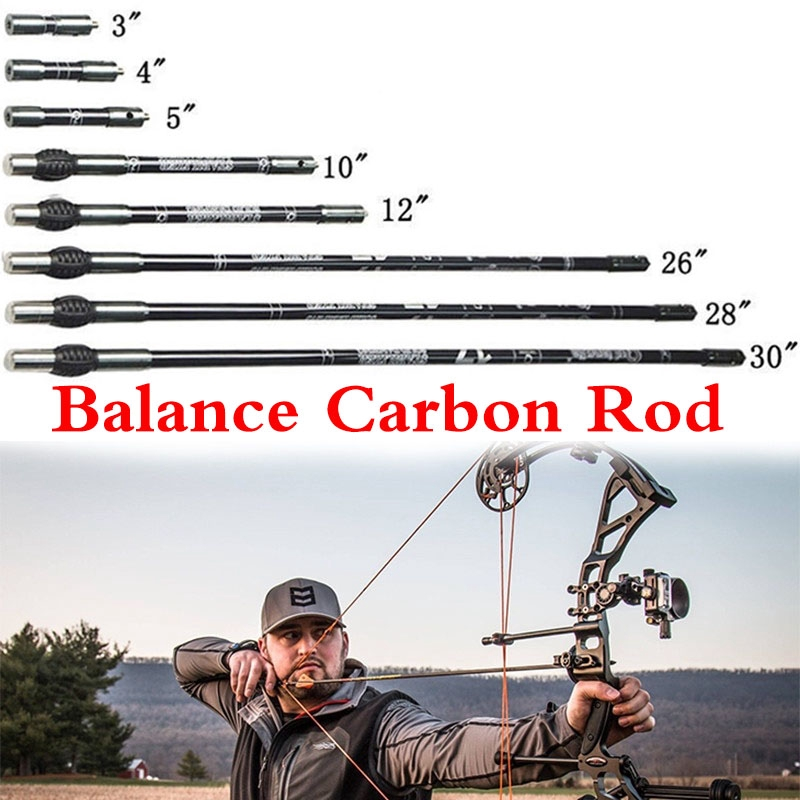 Archery Carbon Stabilizer Bow Balance Rod Short Side Extender Long Bar Compound