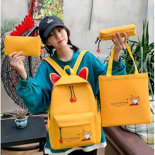Backpack Cat Miao Miao Perempuan Bag 4 Sets 猫咪双肩背包4件套 BP0009