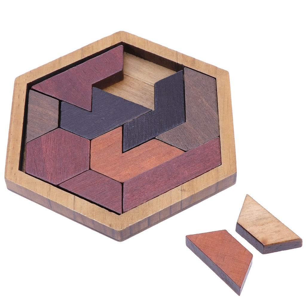 12 pcs Hexagon Tangram Jigsaw Puzzles Wooden Puzzle Games Brain Puzzles For  Kids