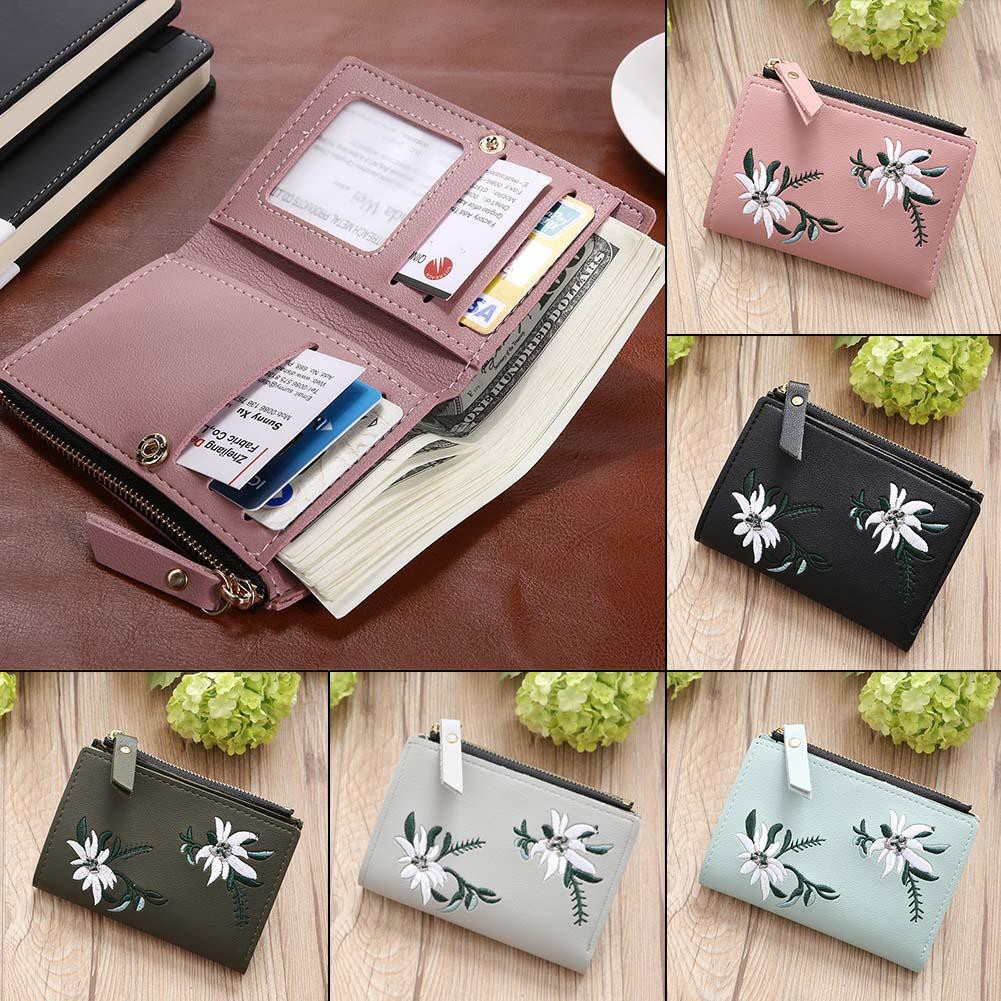 Mini Flowers Embroid Women Short Wallets PU Leather Coin Card Holder Mini  Clutch