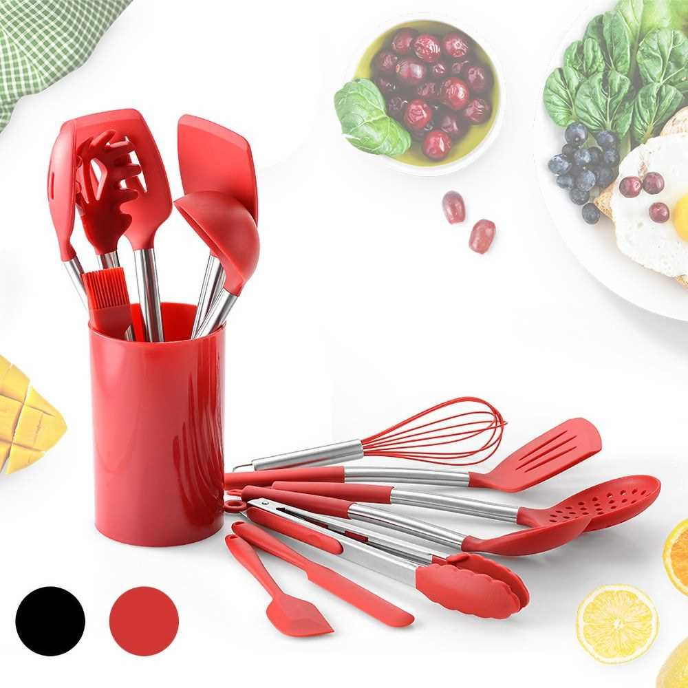 14Pcs Silicone Kitchen Cooking Utensils Set BPA Free Safe Turner Tong Spatula Spoon Eggbeater for Nonstick Pot Cooking