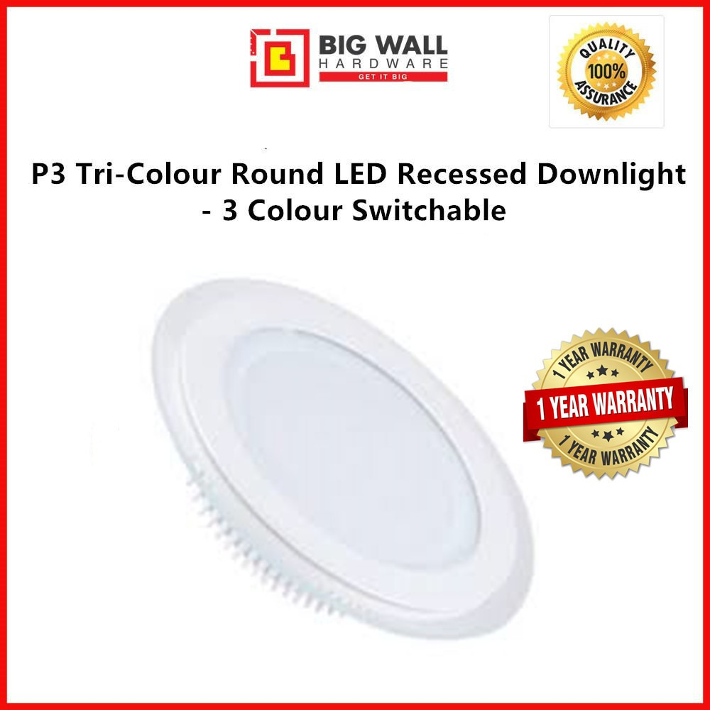 Perfect One P3 LED Glass Downlight / P6 Die-Casting Downlight Tri-Colour Circle/Square Shape - 3 Colour Switchable
