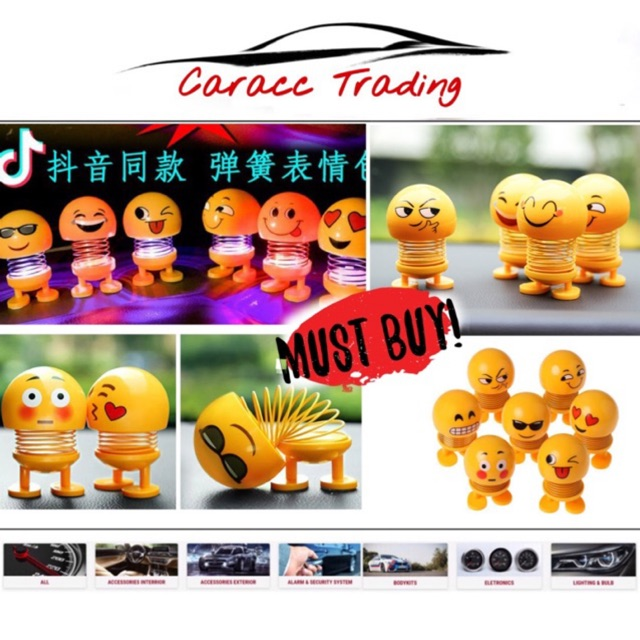 Spring Shaking Head Dolls, Cute Emoji Dolls Funny Expression Bounce Toy Swing Jewelry Smiley Face for Car Dashboard