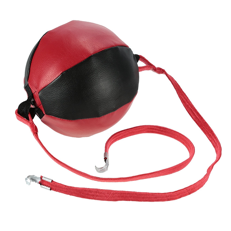 Double End Boxing Speed Ball Punching Bag Speed Training Ball Rope Red