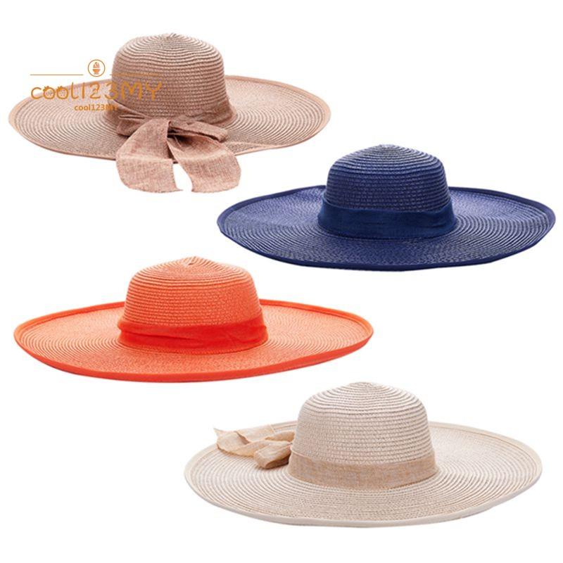 8c7955825dbee7 Summer Women Floppy Hat Big Bowknot Straw Hat Wide Brim Beach Hat ...