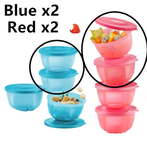 Tupperware Small Round Saver (4) 400ml Blue/Red