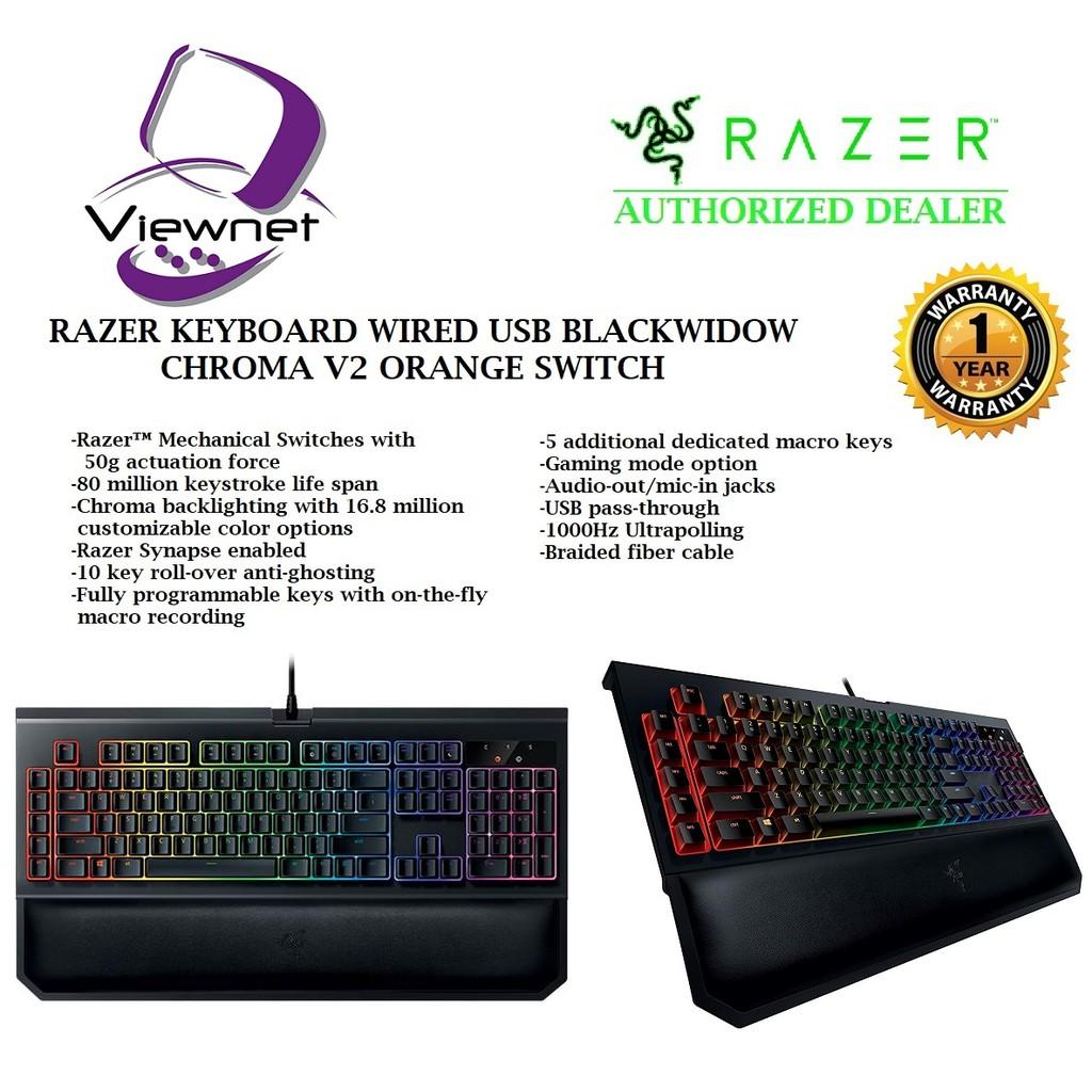 RAZER KEYBOARD WIRED USB BLACKWIDOW CHROMA V2 ORANGE SWITCH  (RZ03-02031600-R3M1)