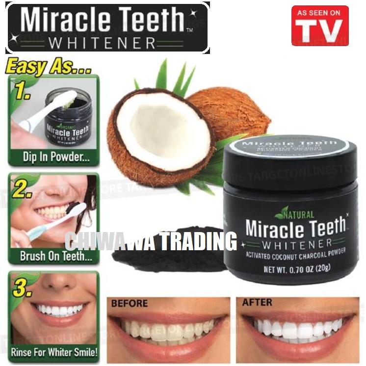 MIRACLE TEETH Whitener Tooth Carbon Toothpaste Charcoal Powder Pemutih Gigi