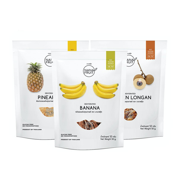 นานาฟรุ้ต(Nanafruit) สับปะรดอบแห้ง กล้วยอบแห้ง ลำไยอบแห้ง (สูตรไม่เพิ่มน้ำตาล) 50กรัม