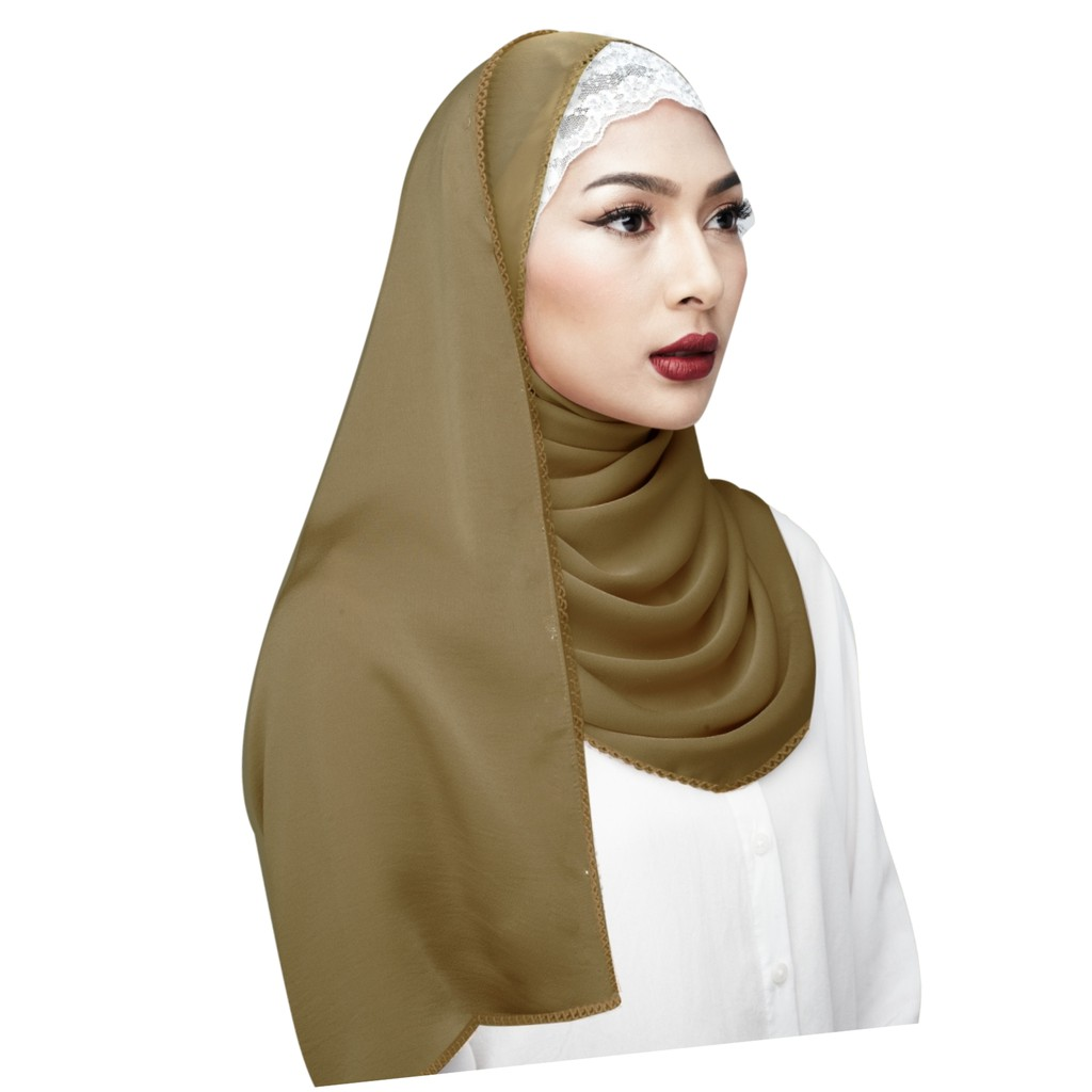 Semlouis Hijab Long Shawl - Plain Colour with Knitted Edge