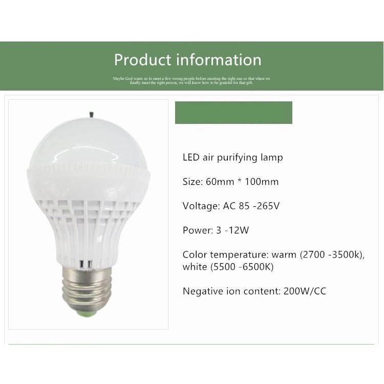Negative Smoking Bulb Air Ion Led Purifying Lamp E27 Environmental Yb6g7yvf
