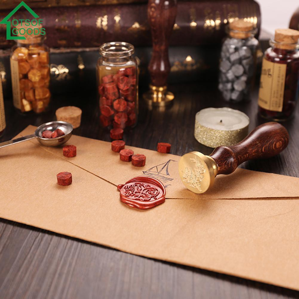 Retro Plant Pattern Sealing Wax Stamp Wooden Handle Envelope Seal