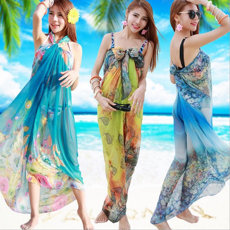 7588473357 New Fashion Swimwear Scarf Chiffon Beach Bikini Wrap Pareo Sarong Dress ca