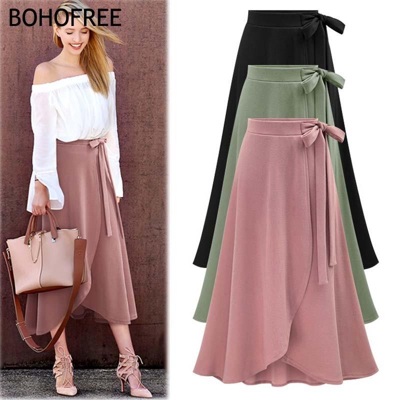 693bc34f7bd27b READY STOCK Oversize 6XL Bow Belt Solid A Line Maxi Skirts Cotton Skirt  Women