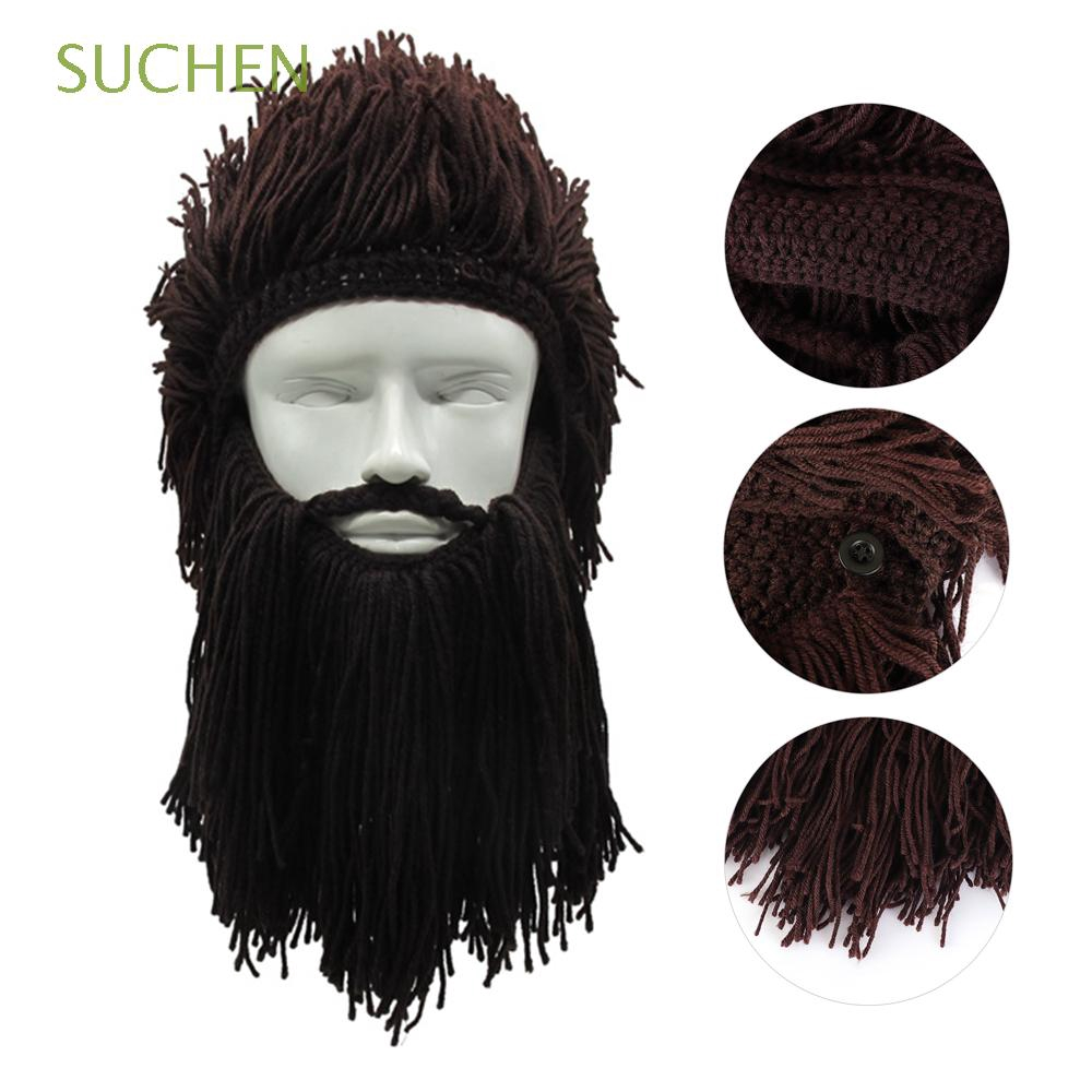 aa237e70 Halloween Cosplay Knitted Winter Warm Funny Crazy Viking Beard Hat