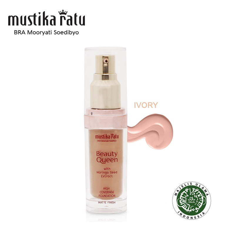 Mustika Ratu Beauty Queen High Coverage Foundation Matte Finish Ivory 35ml