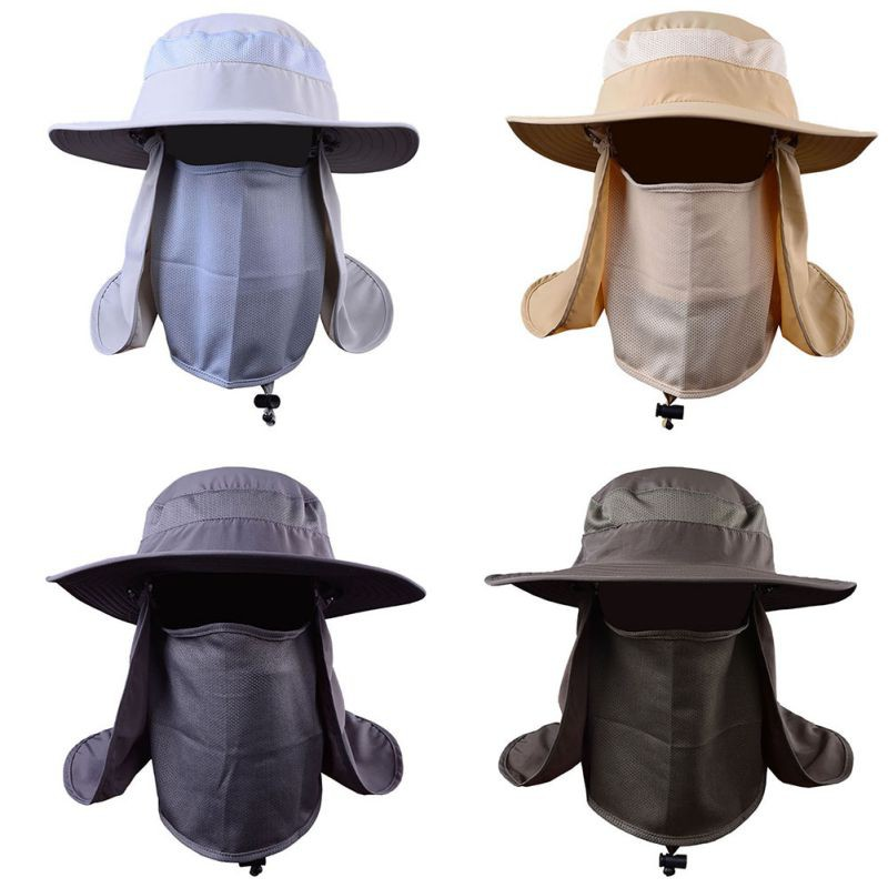 f87f7e7b493f7 Hiking Fishing Hat Outdoors Sports Sun Resistant Neck Face Wide Brim Flap  Cap