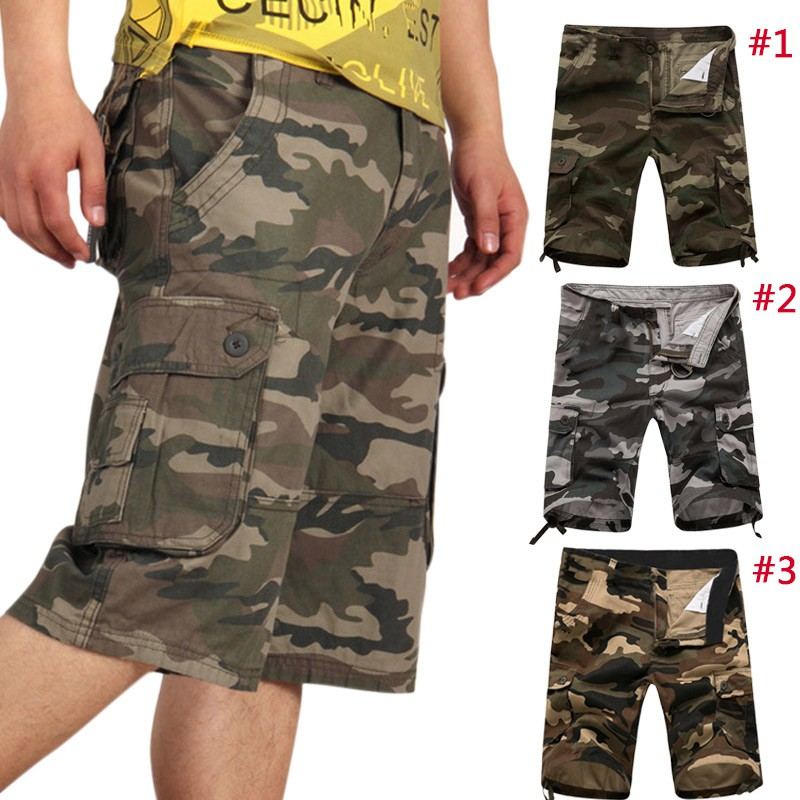 Summer Military Casual Men/'s Army Combat Camo Overall Shorts Cargo Sports Pants