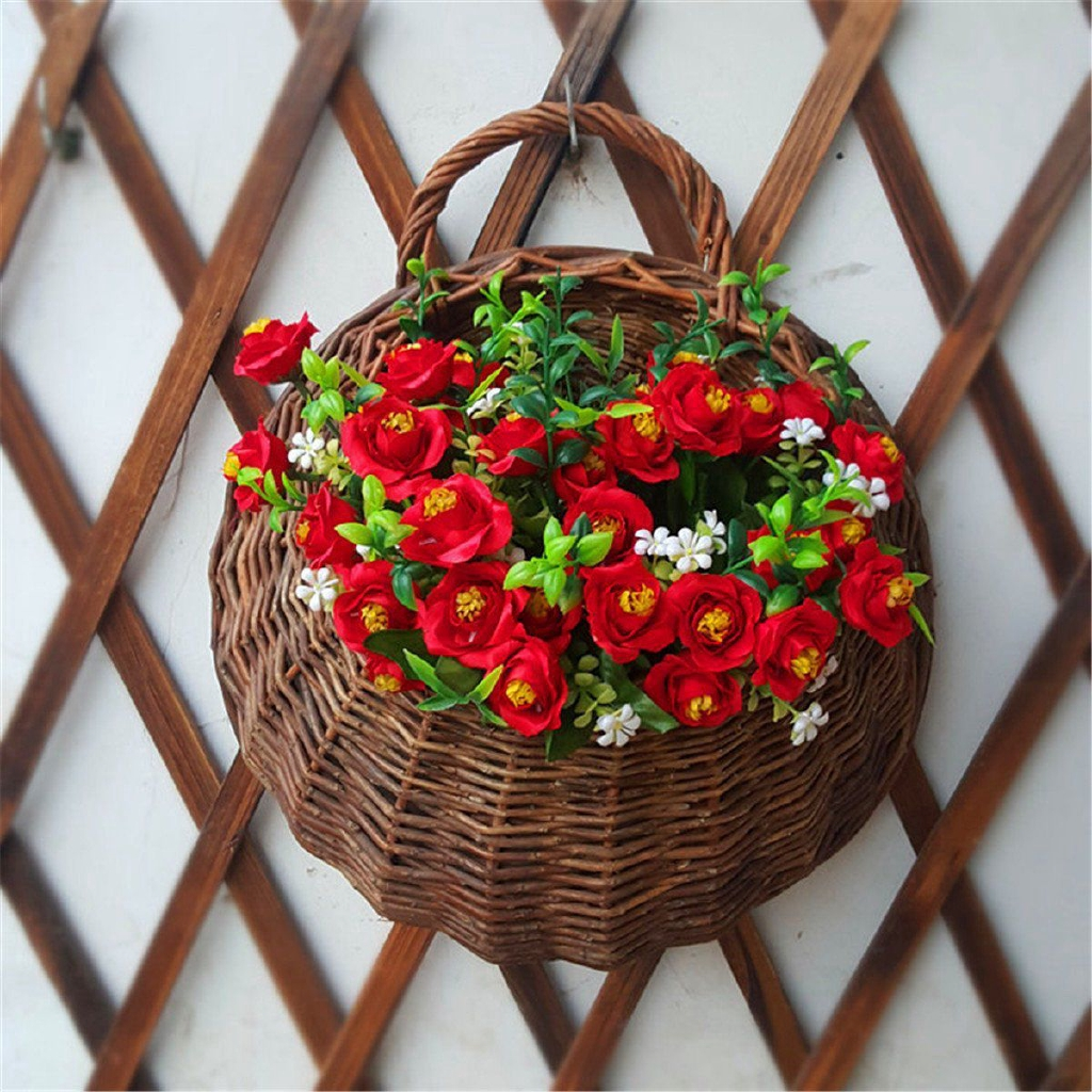 Artificial Flowers Wall Mounted Basket Wall Hanging Plant Pots Wicker Wall Basket Hanging Planters For Garden Wedding Wall Home Decoration Door Decor Shopee Malaysia