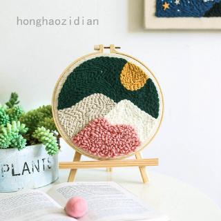 Flowers Cat Cheery Punch Needle Kits Soft Yarn for Beginners Kids DIY Needlework