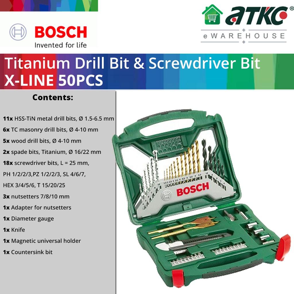 BOSCH X-Line 50PCS Drill Bits & Screwdriver Bits Titanium Set (2607019327)