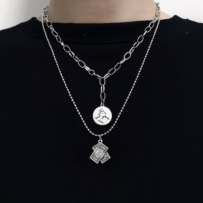 Spot Cold Chic Wind Trampoline Necklace Men And Women Street Hip Hop Chain Personality Hundred Tide Double Shake Collar Shopee Malaysia