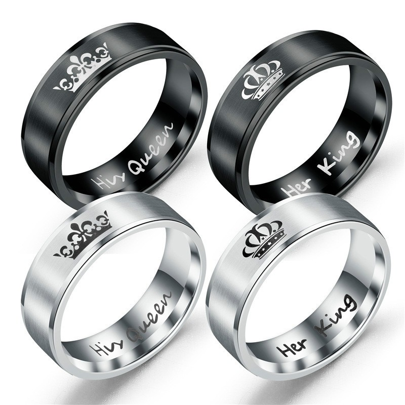 1a127e6c3f241 Titanium Crown Ring Queen King Queen Retro Jewelry Couple Ring