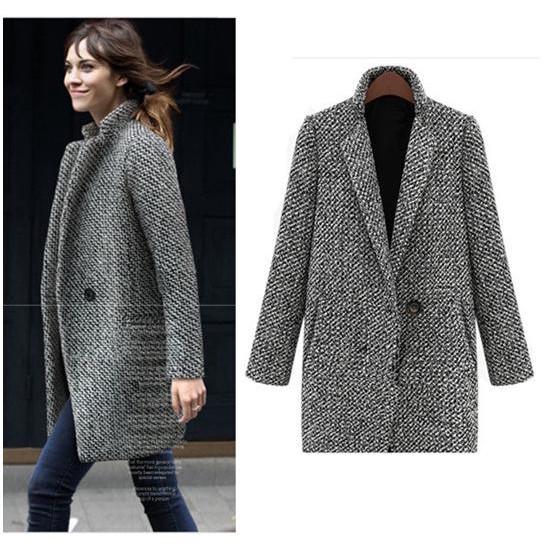1c3dd03af2f1 ProductImage. ProductImage. Women Winter Warm Lapel Trench Wool Long Parka  Coat Cardigan Outwear Jacket