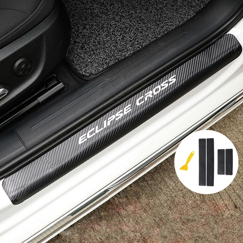 Custom Car Door Sill Protector for Spirior Door Entry Guard Welcome Pedal Threshold Reflective 3D Carbon Fiber Stickers Anti-Scratch 4pcs red