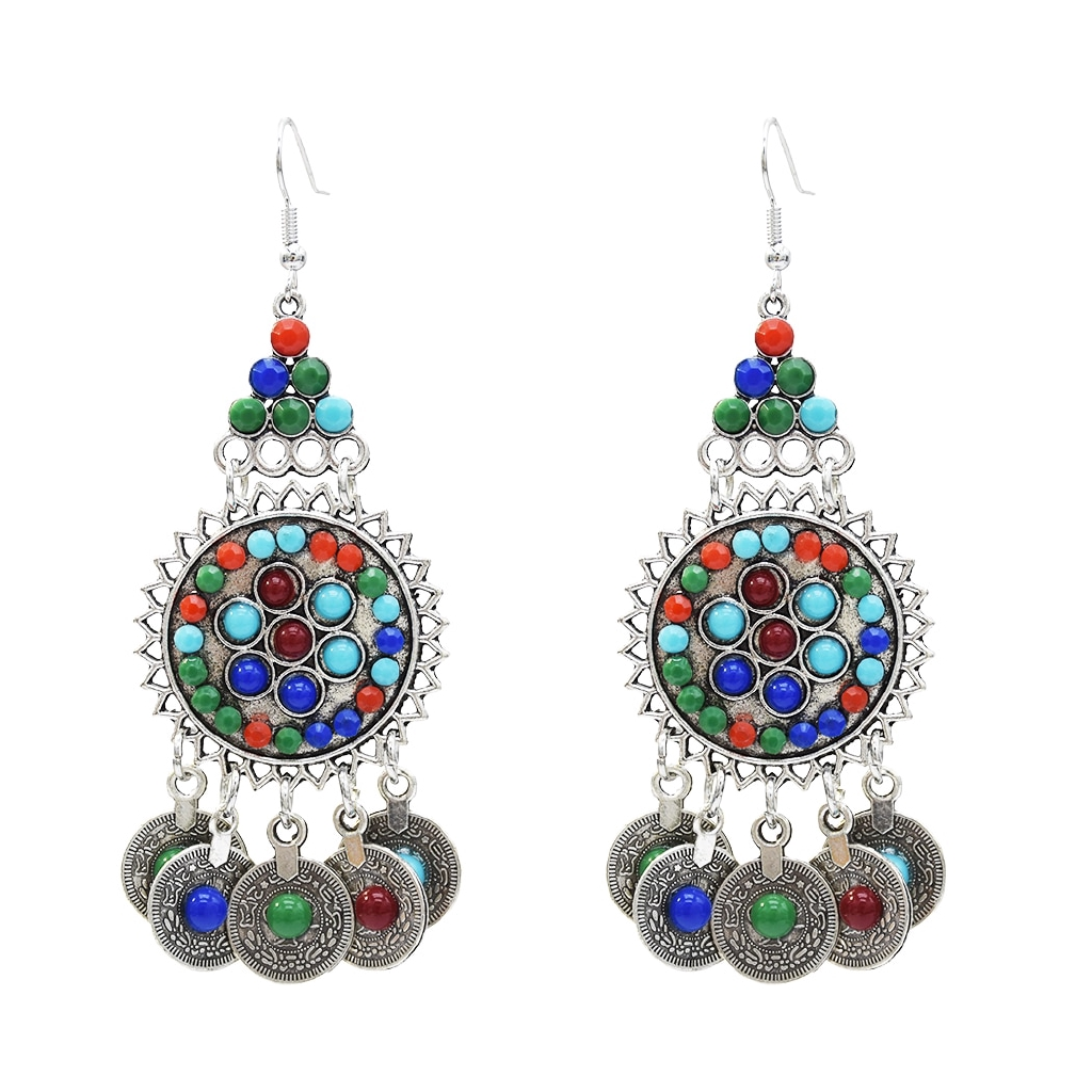 Fashion Bohemian Gypsy Boho Silver Coin Long Chain Tassel Pendant Necklace IU