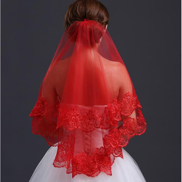 Fashion Women Wedding Tulle Red Veil Bridal Accessory Headpiece