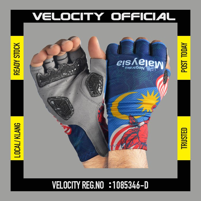 Cycling Glove Gel Velocity Gloves Bunga Raya Half Finger Glove UV Protection Glove Stretchable Glove