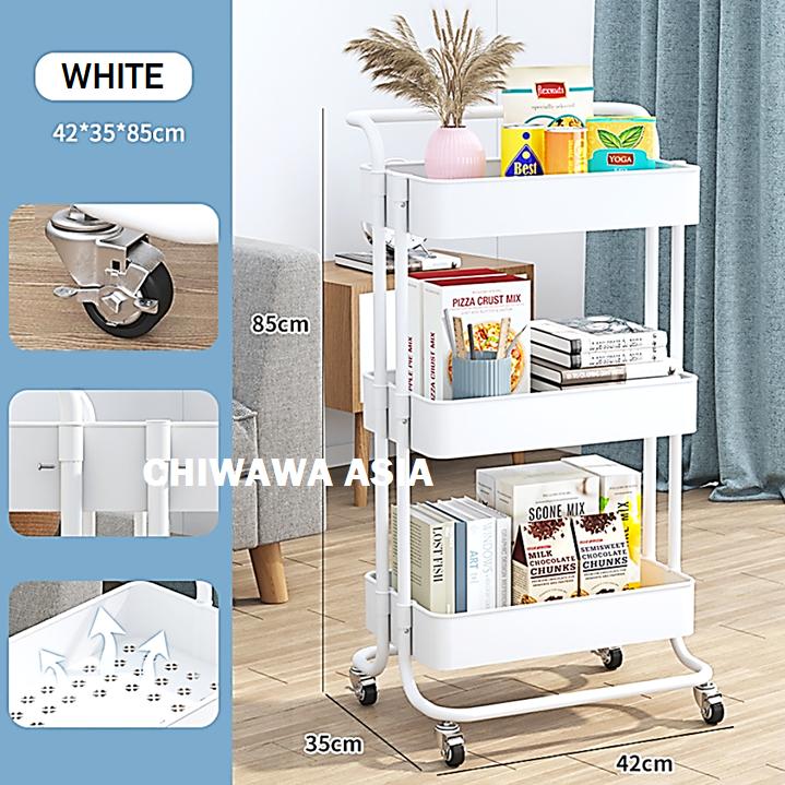 3 Tier Layer Storage Rack Kitchen Living Trolley Shelf Bathroom Toilet Organizer Cart with Wheel / Rak