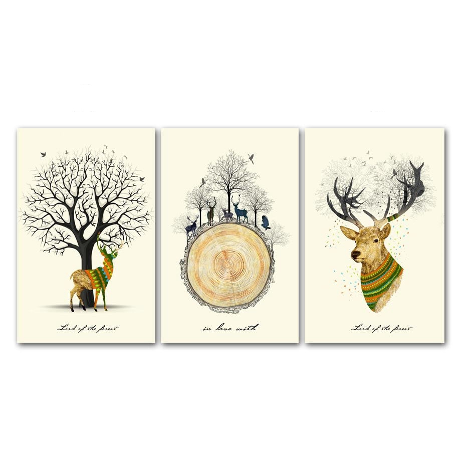 Deer Silhouette Trees Abstract Art Canvas Posters Prints Nordic Home Decoration