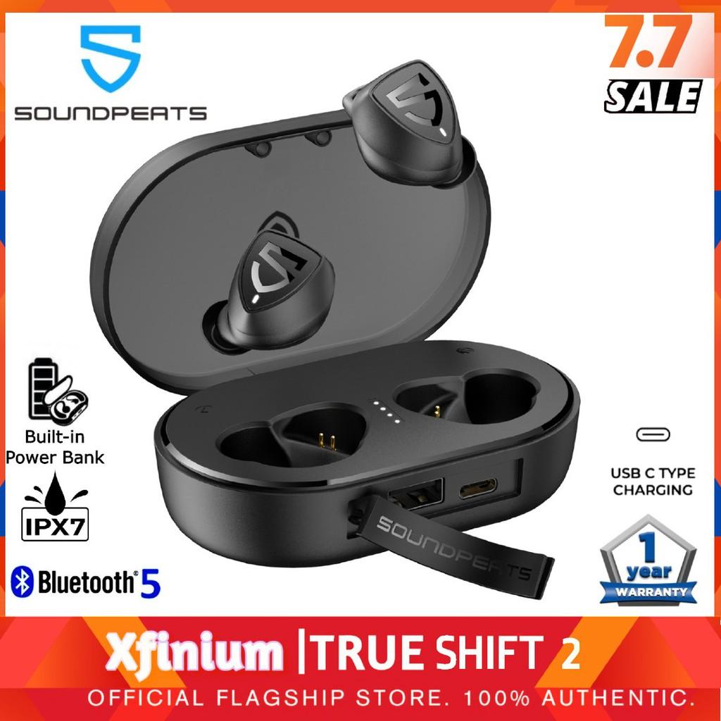 SoundPEATS TrueShift 2 True Wireless Earbuds IPX7 Waterproof with Backup Powerbank