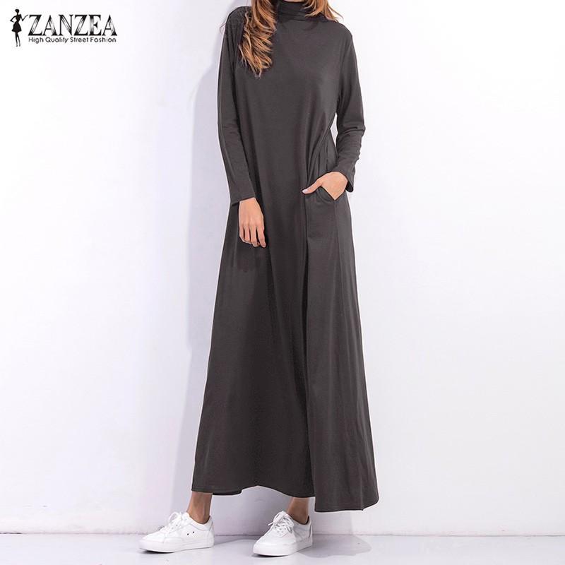 b228fe0d ZANZEA Women's Solid Stand Collar Buttons Long Sleeve Split Dress | Shopee  Malaysia