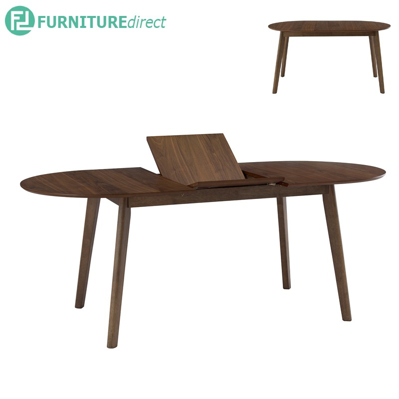 WENER solid wood oval shaped extension table/ meja makan