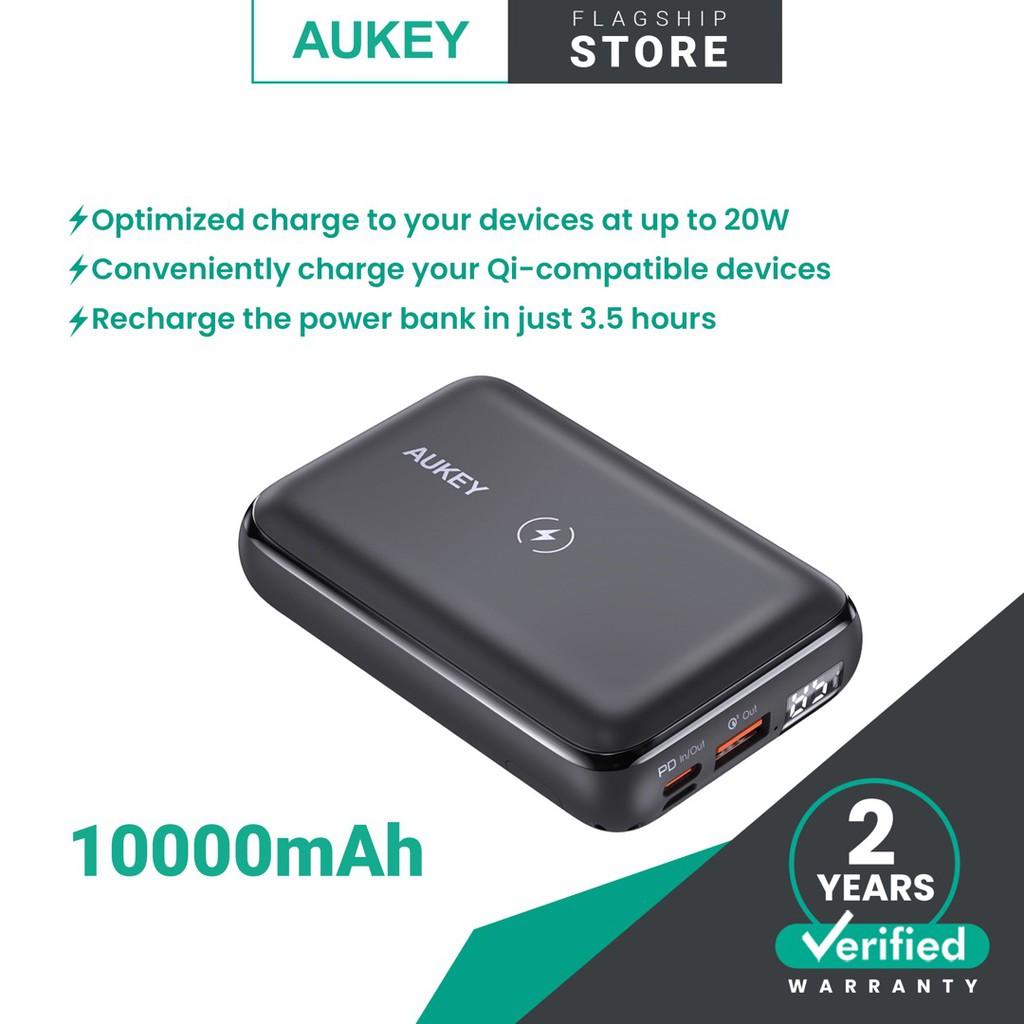 Aukey PB-WL01S 20W PD 10000mAh Basix Pro Mini Wireless Charging Power Bank