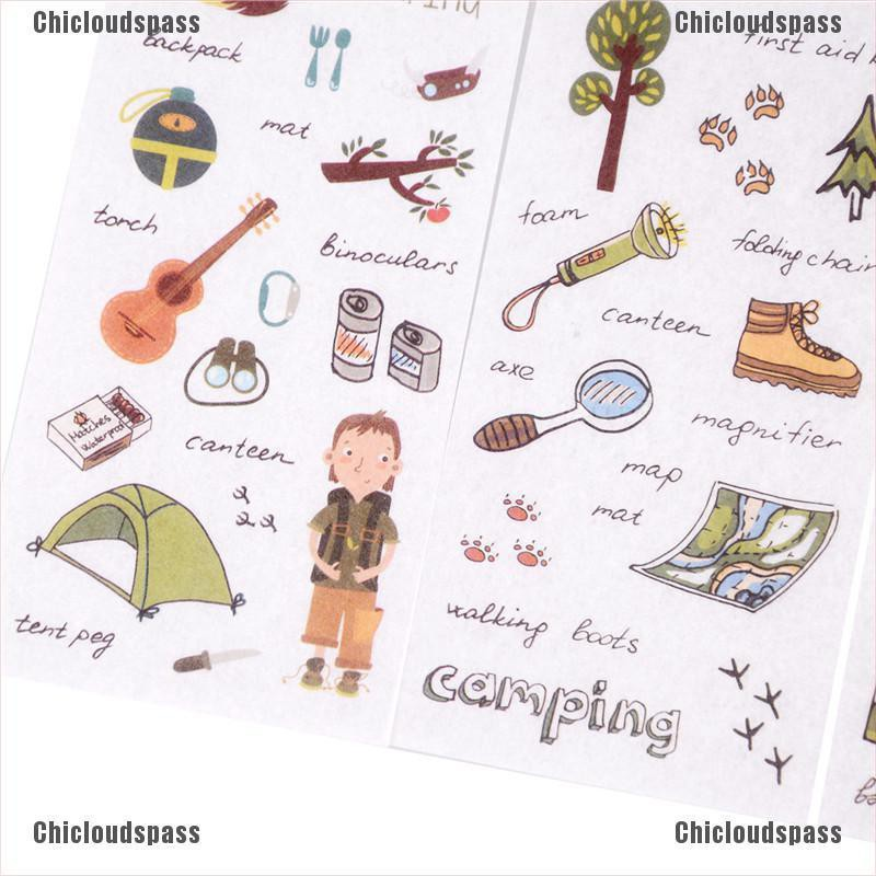 6PCS Camping Outfit Adhesive Stickers Scrapbooking DIY Decoration Diary.Sticker^